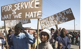 Protesters in the Ramaphosa squatter settlement, east of Johannesburg.